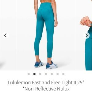 "Blue Lululemon Fast & Free leggings- size 8/25"""